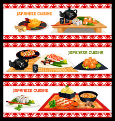 Japanese seafood dishes banner set menu design vector