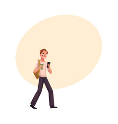 Man with backpack using smartphone mobile phone vector