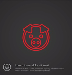 pig outline symbol red on dark background logo vector image