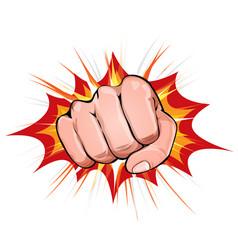 power fist on blasting background vector image