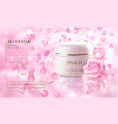 rose flower extract cosmetic ads template vector image vector image