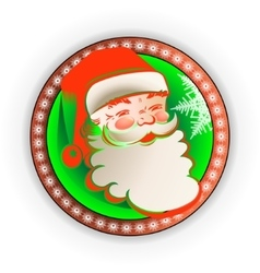 silhouette in the round frame Santa Claus vector image vector image