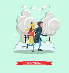 snowfall concept in flat style vector image vector image