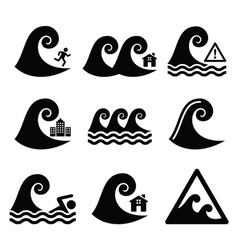 Tsunami big wave warning neutral disaster icons vector