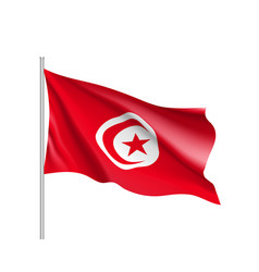 tunisia realistic flag vector image vector image