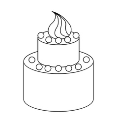 Two tier birthday cake icon outline style vector image vector image