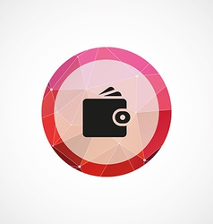 Wallet circle pink triangle background icon vector