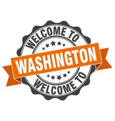 Washington round ribbon seal vector