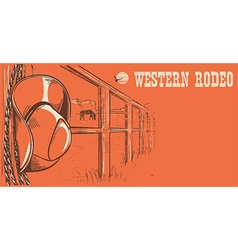 Western rodeo posterAmerican West cowboy hat and vector image