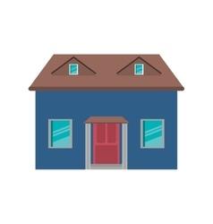 cartoon blue house red door simple vector image