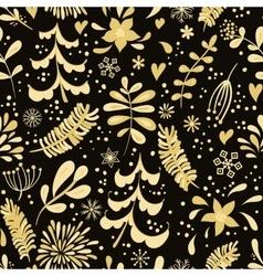 Golden winter flowers vector