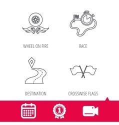 Race flags timer and destination pointer icons vector