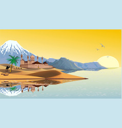 Landscape - the arab fortress on the coast vector