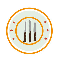 color circular frame with knife set vector image