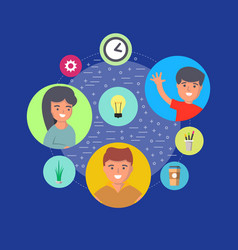 people teamwork concept with round avatar icons vector image