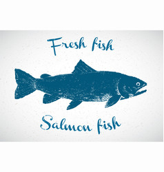 Silhouette of salmon in the graphic style the vector