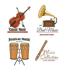 Icons set for best classic music concert vector