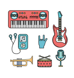 set elements to listen and play music vector image