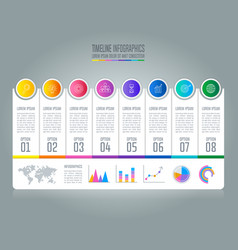 Timeline infographic business concept with 8 vector