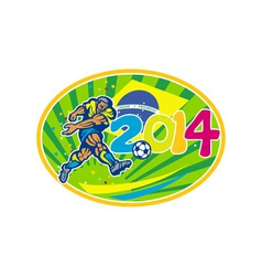 Brazil 2014 soccer football player kicking ball vector