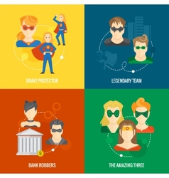 Superhero icon flat composition vector image