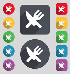 Eat cutlery icon sign a set of 12 colored buttons vector