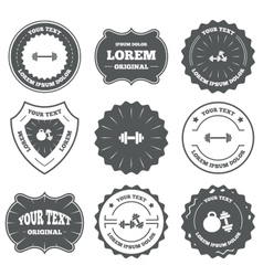 Dumbbells icons fitness sport symbols vector