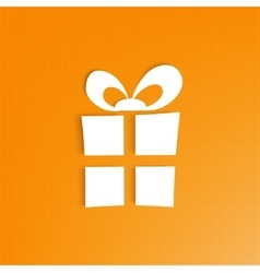 3d gift box on bright orange background vector