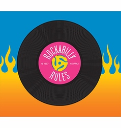 Rockabilly rules record design vector