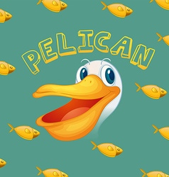 Pelican face and fish vector image