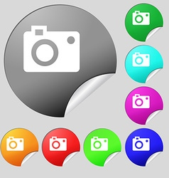 Camera icon sign set of eight multi colored round vector