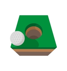 Golf ball on edge of hole cartoon icon vector