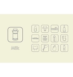 Set of milk simple icons vector