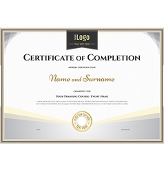 Certificate of completion template silver theme vector