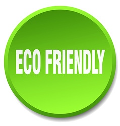 Eco friendly green round flat isolated push button vector
