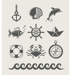 Sea and marine symbol set vector