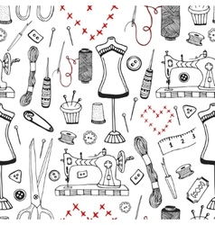 Needlework and sewing equipment seamless pattern vector