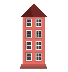 Tall red building graphic vector