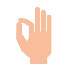 Silhouette hand showing symbol ok vector