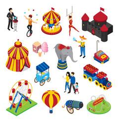Amusement park isometric set vector