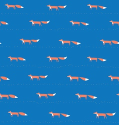 Blue pattern with fox vector image