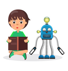 Boy sits and reads book beside robot with lamps vector