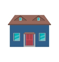 Cartoon blue house red door simple vector