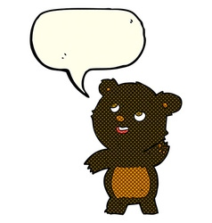 cartoon cute waving black bear teddy with speech vector image vector image