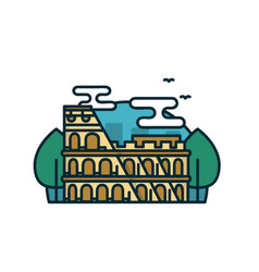 colosseum in rome trees modern vector image