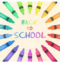 Crayons circle back to school frame greeting card vector