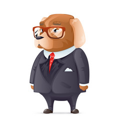 Dog boss fashionable business suit good boy vector
