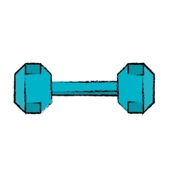 Drawing dumbbell weight fitness gym icon vector