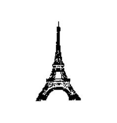 eiffel tower 8 bit minimalistic pixel art vector image vector image
