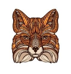 Ethnic ornamented fox hand drawn vector